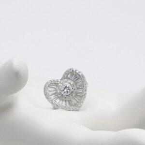 Anello cuore argento zirconi