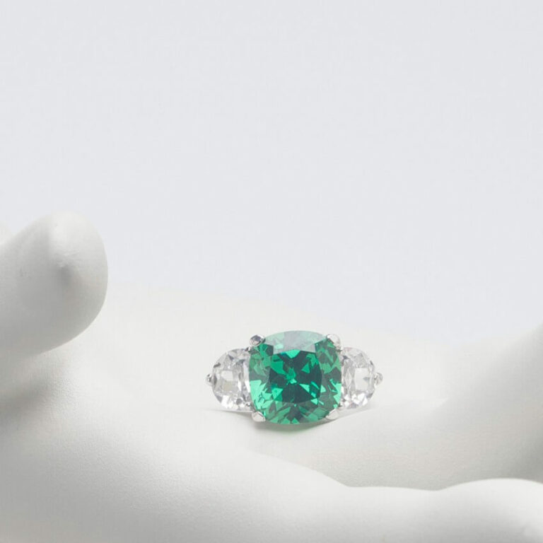 Anello argento smeraldo zirconi