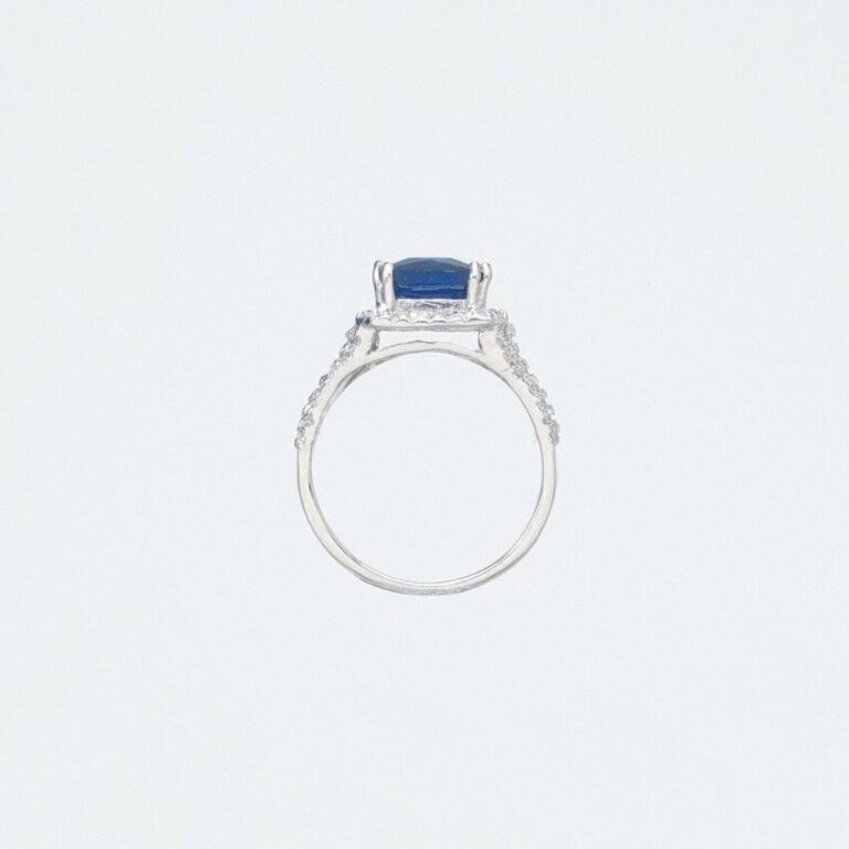 Anello argento zircone centrale zaffiro