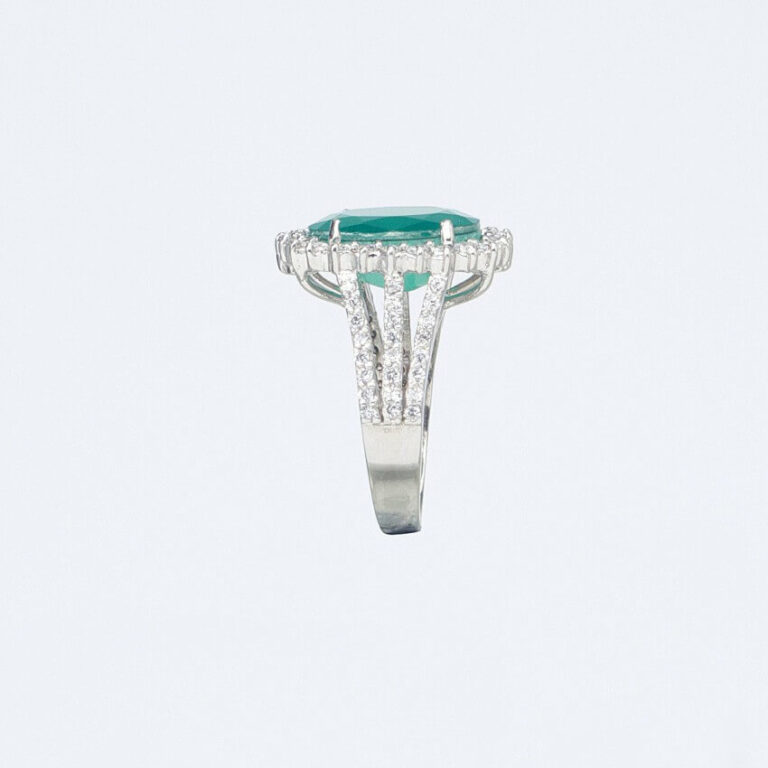 Anello argento zircone smeraldo corona-zirconi