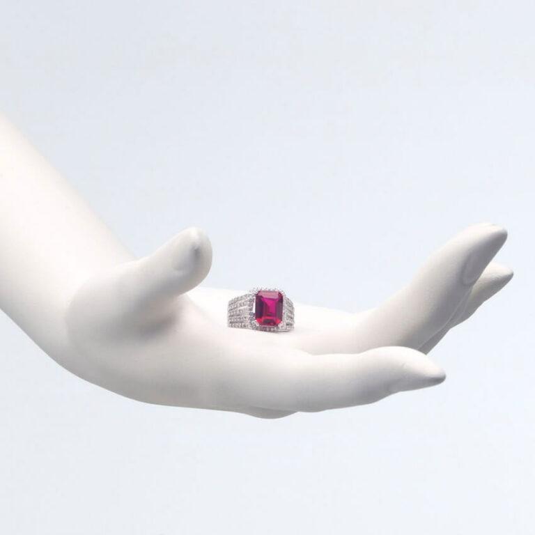 Anello argento rubino zirconi