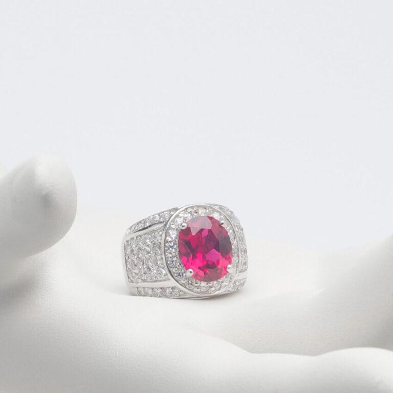 Anello argento fascia rubino corona zirconi