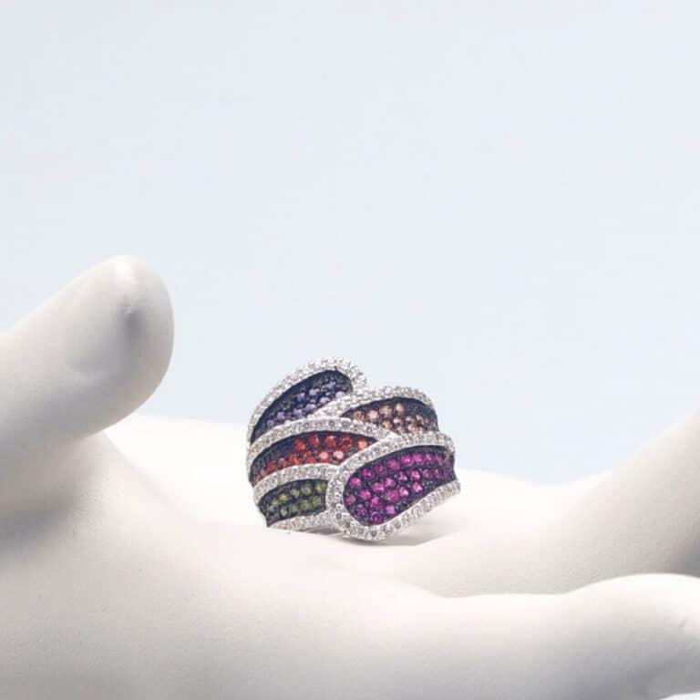 Anello fascia argento zirconi multicolor
