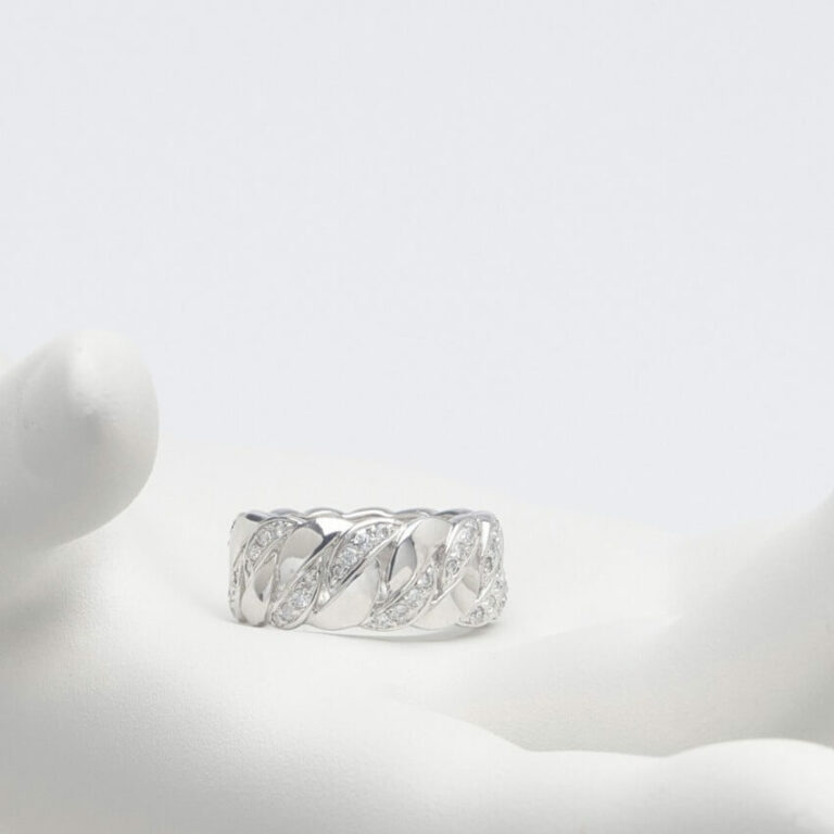 Anello fascia argento zirconi