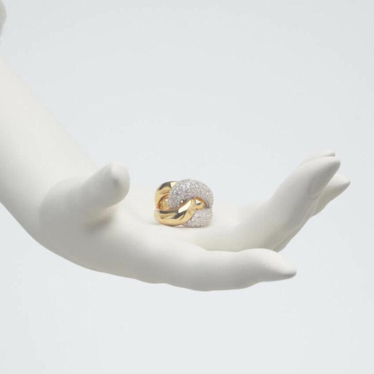 Anello nodo zirconi argento oro