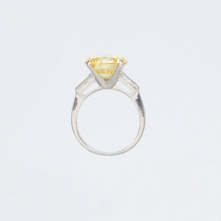 Anello solitario zircone giallo canary