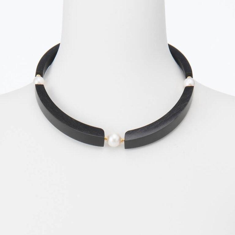 Collana lunga perle ebano