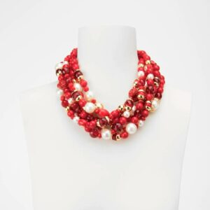 Collana girocollo multifili rosso perle oro