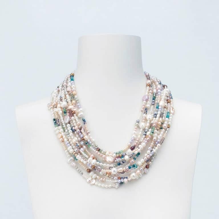 Collana girocollo perle multicolor