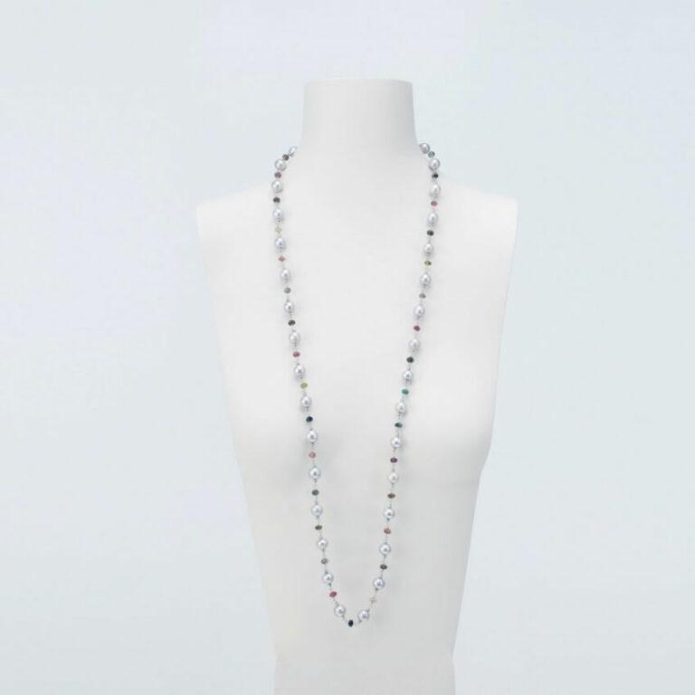 Collana lunga perle tre colori