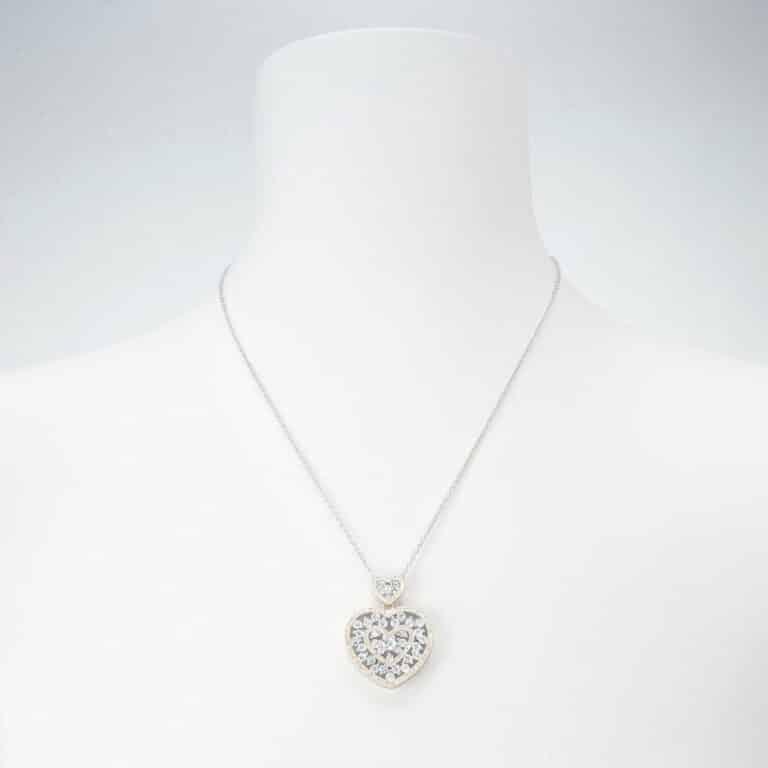 Girocollo argento zirconi due cuori