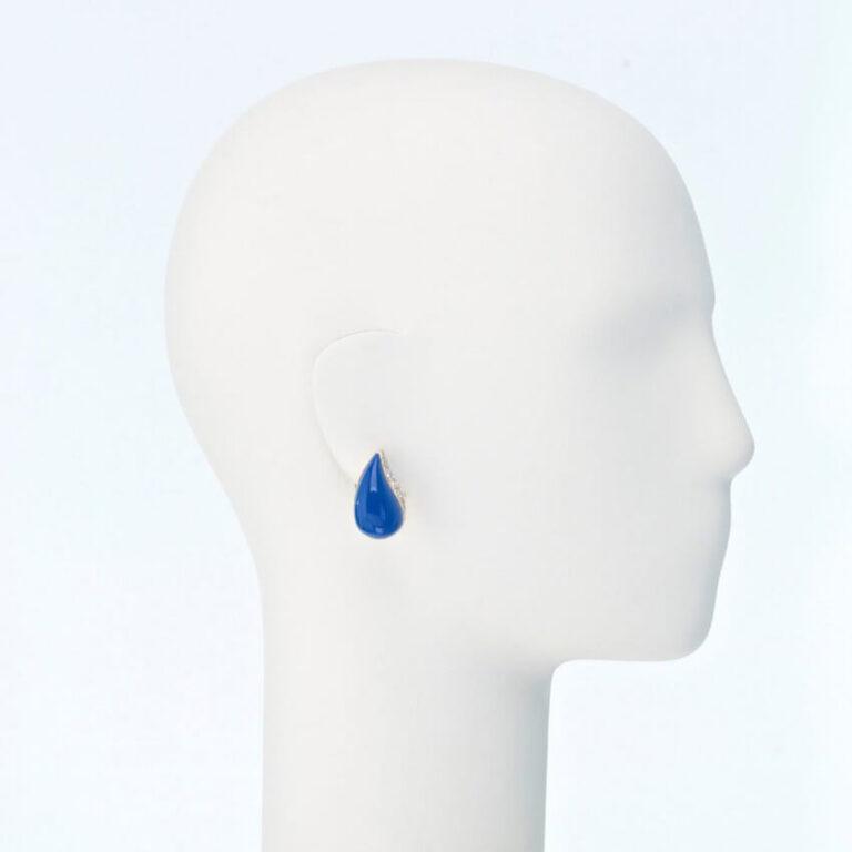 Orecchino clip lobo zirconi resina blu