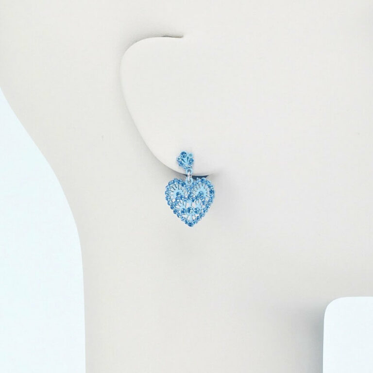 Orecchino perno cuore cristalli azzurro