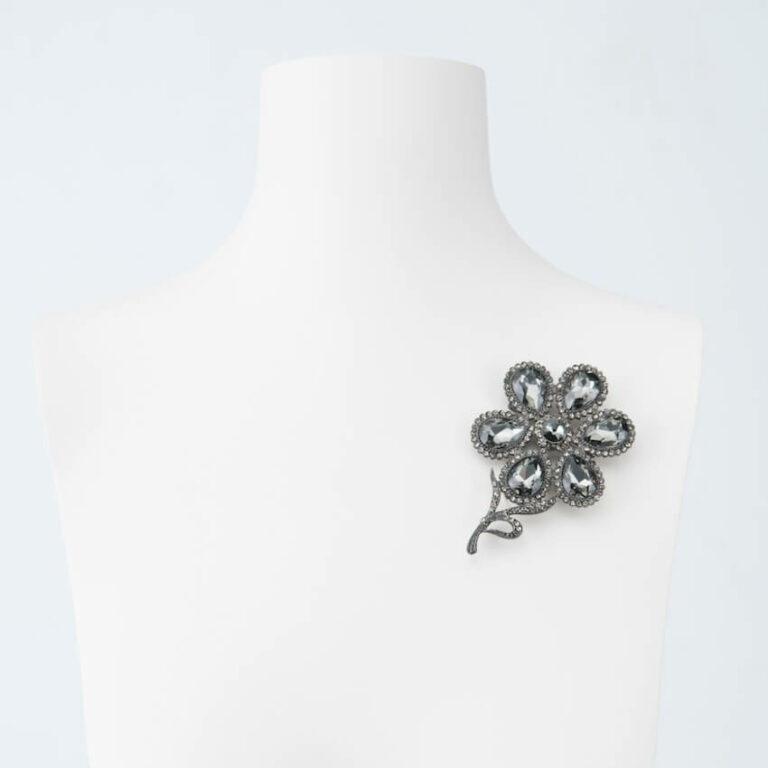 spilla fiore cristallo argento