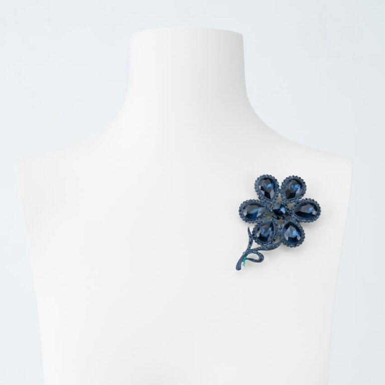 spilla fiore cristallo blu