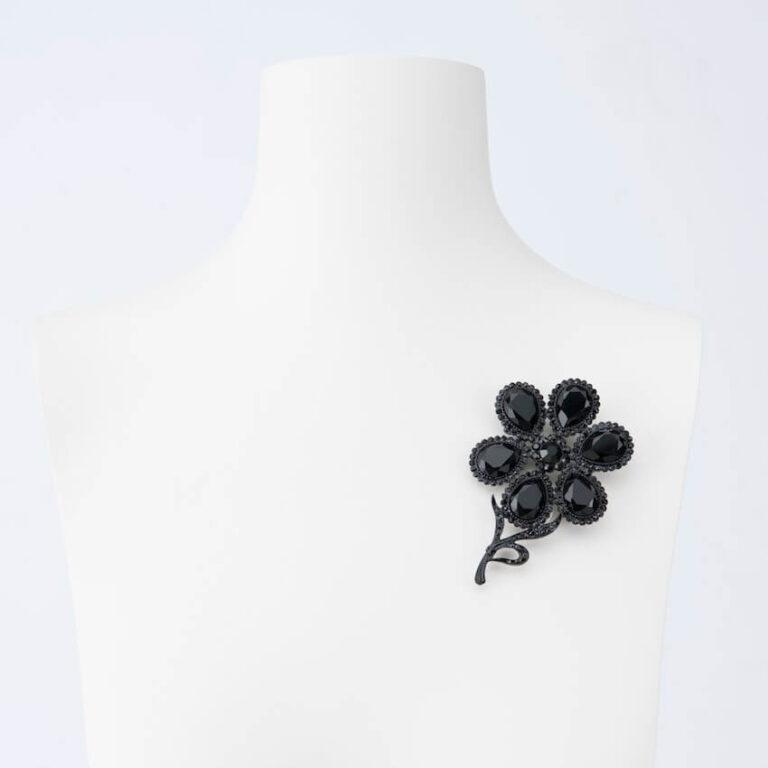 spilla fiore cristallo nero
