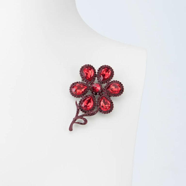 spilla fiore cristallo rosso