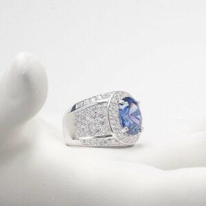 anello fascia argento tanzanite
