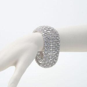 bracciale argento zirconi bombato