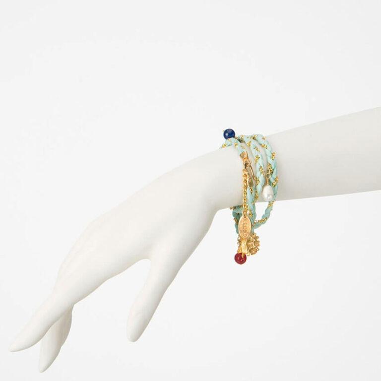 bracciale collana seta azzurro oro