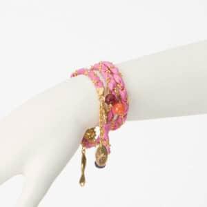 bracciale collana seta rosa oro