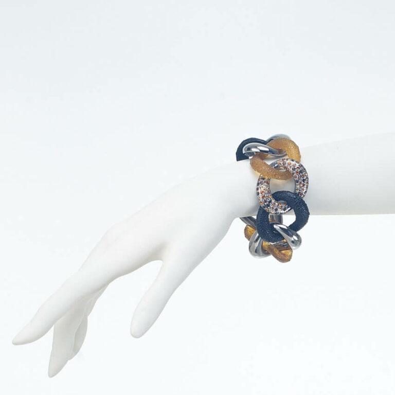 bracciale groumette nero argento ambra