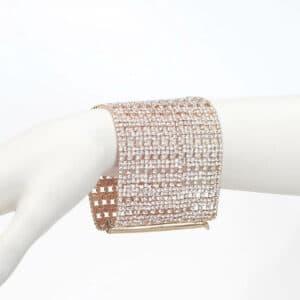bracciale maglia metallo strass oro