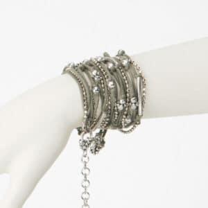 bracciale multifili verde argento