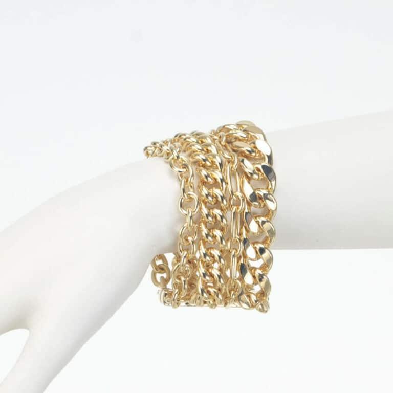 bracciale multimaglia oro