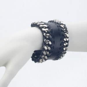 bracciale pelle catena metallo nero