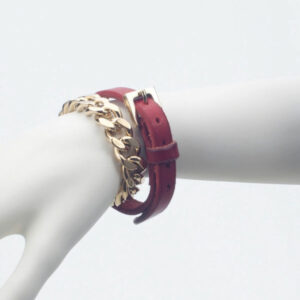 bracciale pelle catena oro