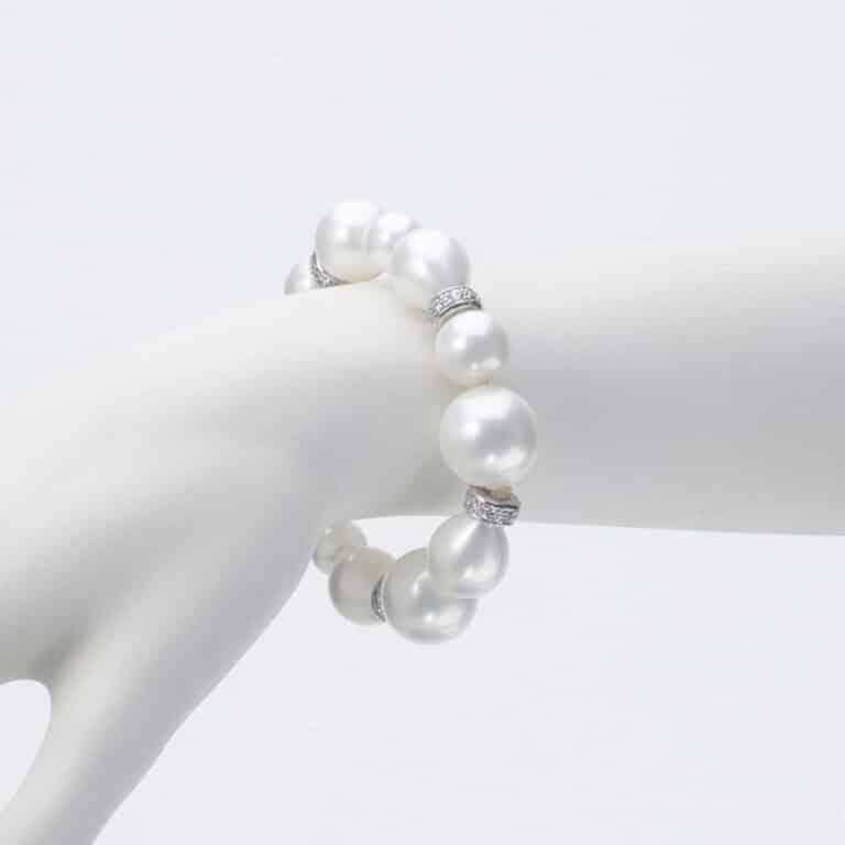 bracciale perle argento zirconi