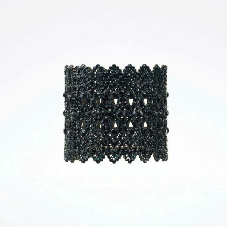Bracciale rigido cristalli nero