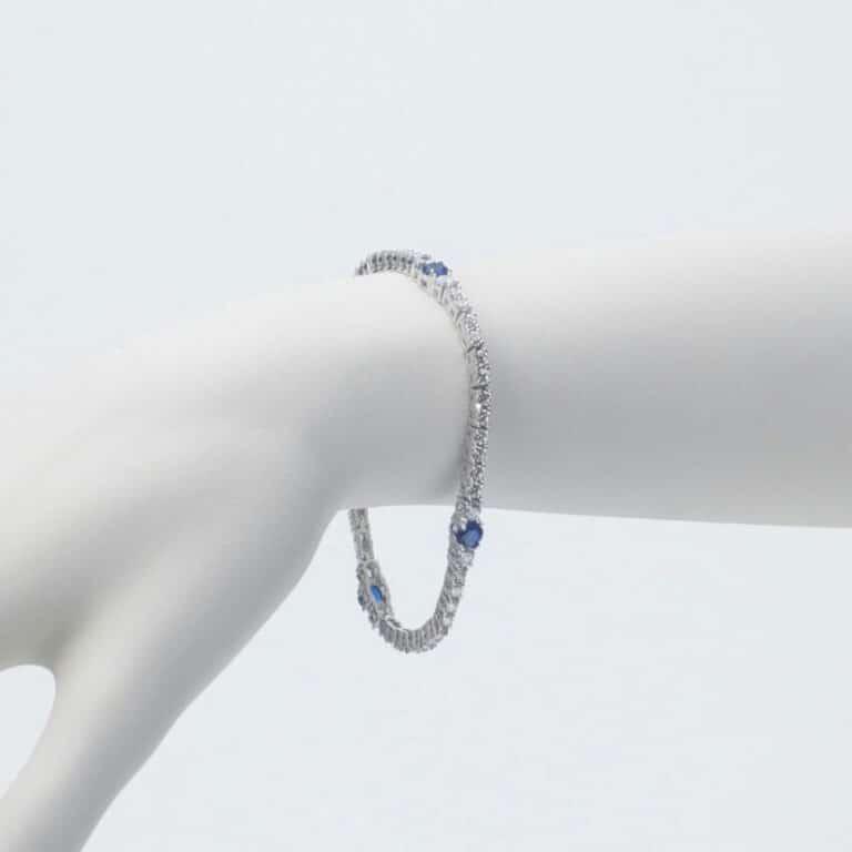 bracciale tennis argento zaffiro