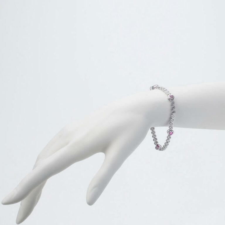 bracciale tennis cuori rubino