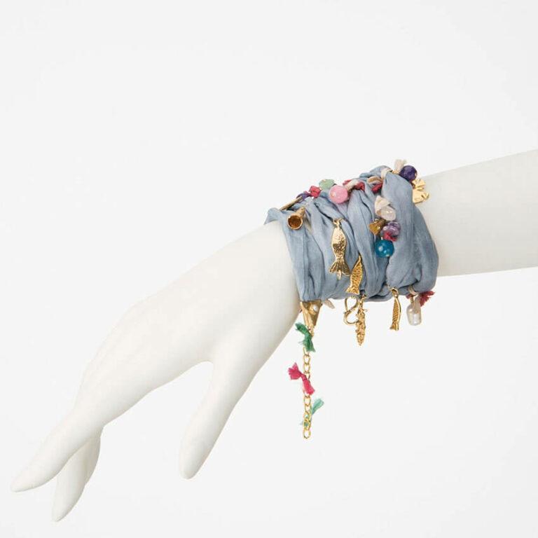 collana bracciale seta ciondoli lavanda