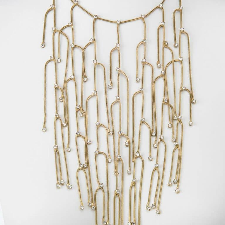 collana cascata fili oro zirconi