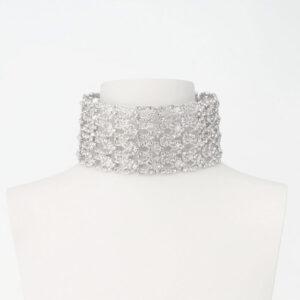 collana chocker cristallo argento