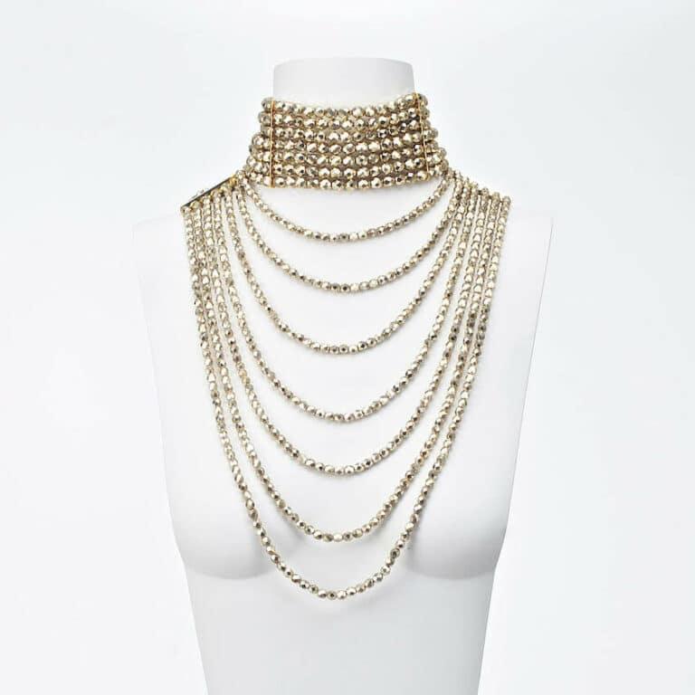 collana cristallo cascata multifilo oro
