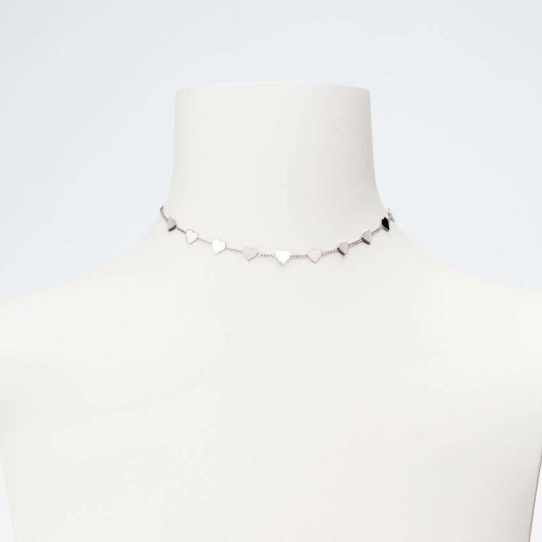collana girocollo argento cuori