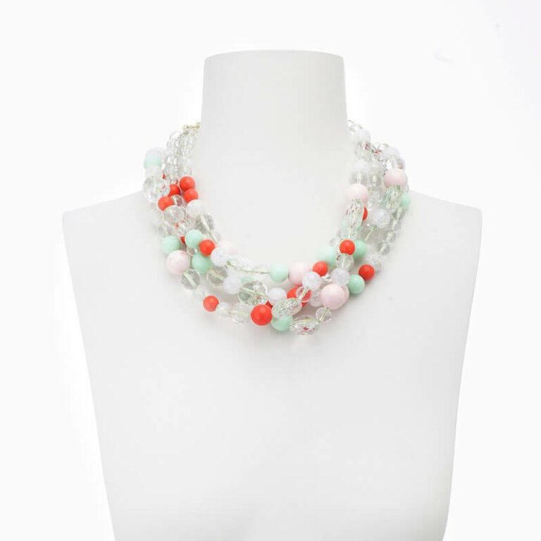 collana-girocollo-multifili cristallo corallo verde rosa