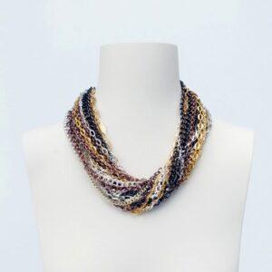 collana girocollo multifilo argento oro rame