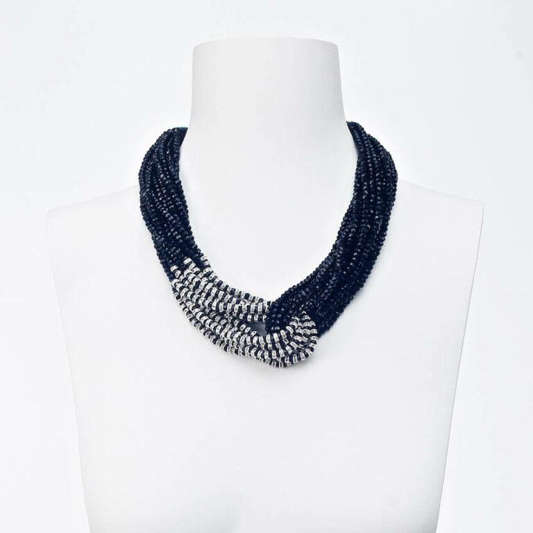 collana girocollo nodo nero argento