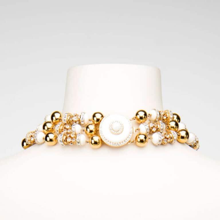 collana girocollo oro bianco retro