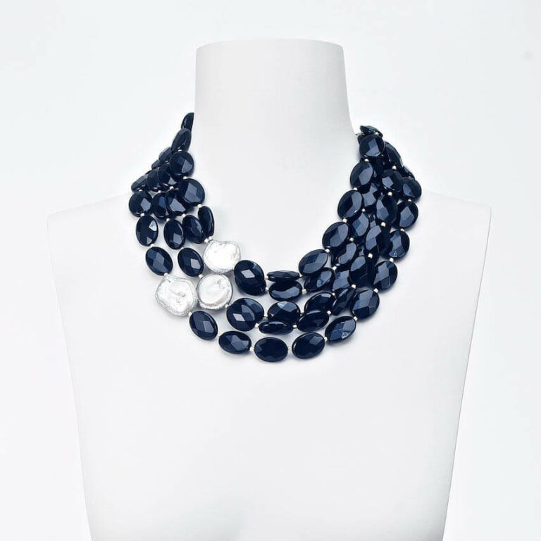 collana girocollo perle cristalli bianco nero