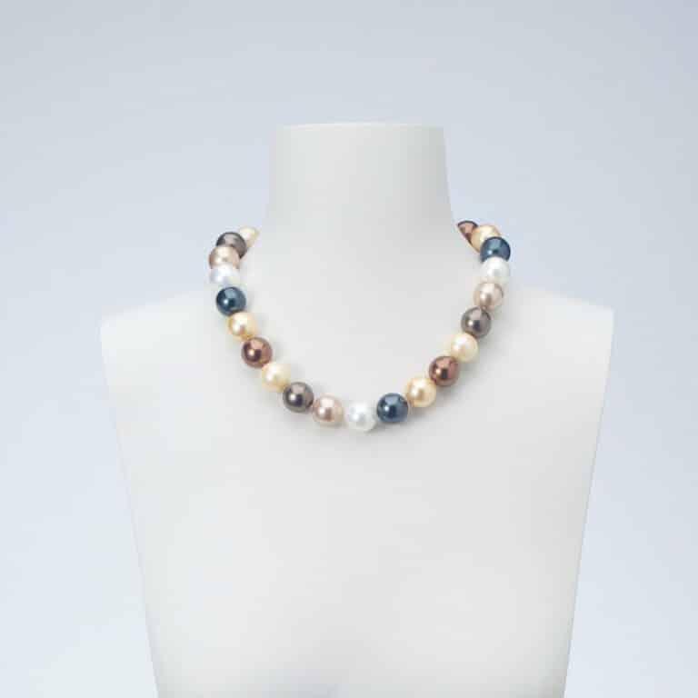 collana-girocollo-perle grigie bianche beige mordorè