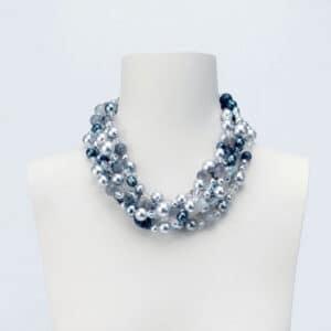 collana girocollo perle grigie cristallo