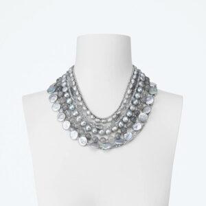 collana girocollo perle grigie