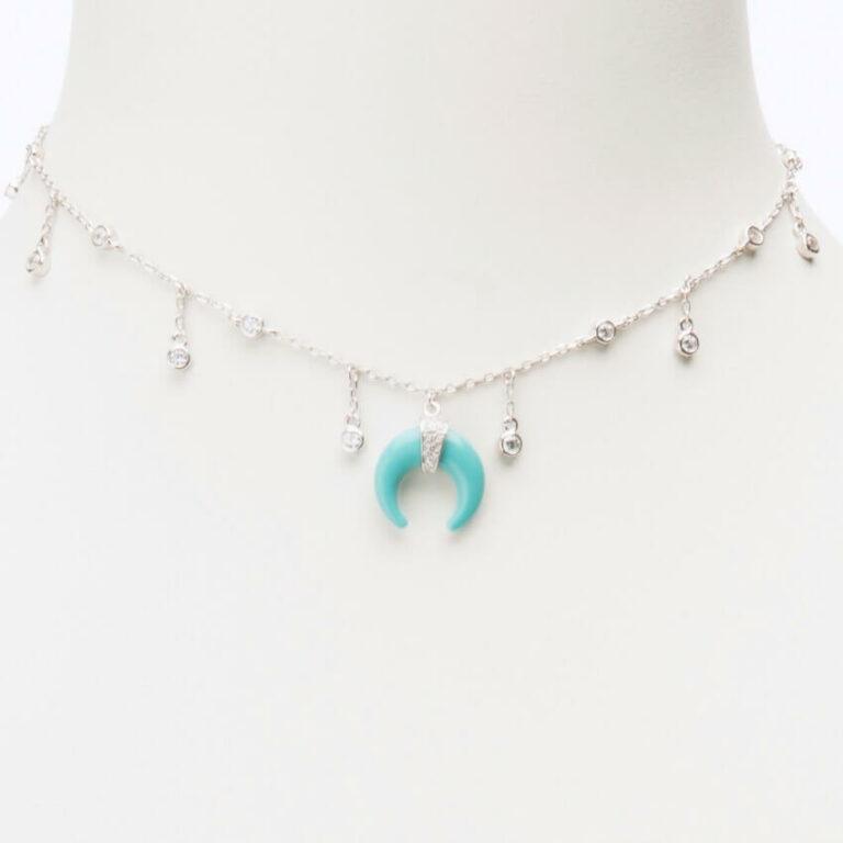 collana girocollo talismano turchese