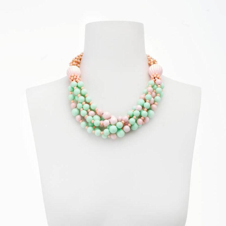 collana girocollo verde acqua rosa